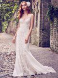 V-образный вырез горловины устраивающих Gowns Русалки тюль валика клея пляж сад Boho свадебные платья Mk20118