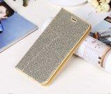 Caixa de couro brilhante do telefone da carteira da ranhura para cartão do crédito do plutônio do Glitter