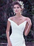 어깨 간단한 공단 결혼 예복 S201705 떨어져 V 목 신부 드레스