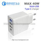 Ons Stop 3 QC 3.0 van de EU van de Haven USB Lader van de Muur van de Toebehoren type-C van de Telefoon van de Lader van de Muur de Mobiele met de Lader van het Huis van de Garantie van 1 Jaar