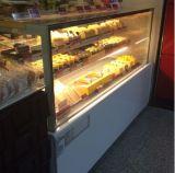 2개의 선반 판매를 위한 1개의 기본적인 대리석 까만 똑바른 유리제 케이크 전시 냉각장치