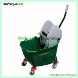 Seau en plastique de roue chariot de balai de nettoyage de plancher essoreuse