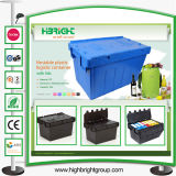 Logistischer nistbarer beweglicher Behälter mit eingehängten Kappen