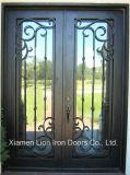 Sécurité décorative élégante double porte d'entrée en fer forgé