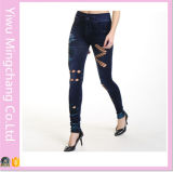 2016 Atacado New Designed Hollow Seamless Sexy Cotton Jeans Tights