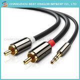 kabel van Aux van de Omzetting van de Larynx van de Computer van de Schakelaar van de Overdracht van 3.5mm 2RCA de Audio Mobiele