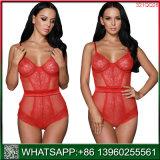 Hot Vente de lingerie sexy résille rouge transparente avec la ceinture