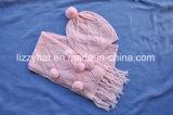 Lã de malha de moda hat/lenços de definir com os teus pompons
