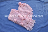 Form strickte den Wolle-Hut/Schal, die mit Pompoms eingestellt wurden