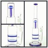 Les tuyaux de verre Pipe pipe à eau avec arbre de bras de bleu et Double Honeycomb et Base de tuyaux en verre épais