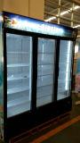 Refrigeradores eretos do indicador da porta tripla de vidro do estilo de América para refrigeradores da bebida do frasco do supermercado