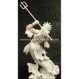 Vente à chaud de haute qualité en marbre naturel Poseidon Dieu de la Statue de la mer (sy-MS131)