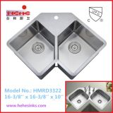 Forma de V Taça dupla barra artesanais de Aço Inoxidável pia, pia de cozinha (HMRD artesanato3322)