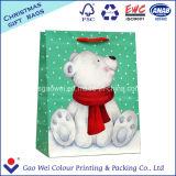 즐거운 성탄 백색 Kraft 종이 봉지 선물 부대 쇼핑 백