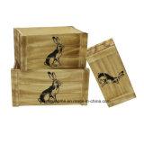 Vintage de animais estilizados engradados de armazenamento de madeira natural Coelho, Marrom, Conjunto de 3