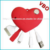 Dimensión de una variable rosada 3 del corazón en los cables de 1 USB para Appple y los teléfonos androides