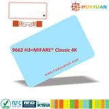 La RFID híbrida combinada MIFARE Classic 1K + Tarjeta de combi inteligentes UHF