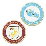 Esmalte personalizado aniversário placas tipo moeda de ouro de futebol de toque de retorno os Religiosos