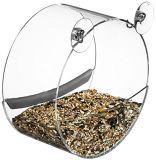 Alimentador de acrílico claro redondo del pájaro de la ventana para mirar pájaros salvajes para arriba cerca