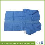 Abito chirurgico non tessuto di SMS con i polsini lavorati a maglia