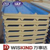 0.3-0.8mm de pared techo con paneles sándwich PU PPGI ISO