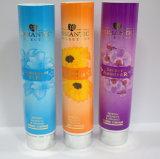 Tubo de embalagem cosmética com gel de banho com tampa superior