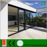 Portas deslizantes de perfil de alumínio sem ruptura térmica com vidro temperado