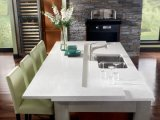 Controsoffitto bianco scintillante del quarzo lucidato superficie solida per la cucina