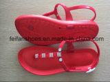 Сандалии женщин красного цвета PVC вскользь, тапочки способа повелительниц Softable