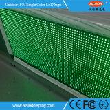 P10 impermeabilizan la muestra al aire libre único LED verde para mensaje publicitario