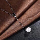 Collar plateado arma negro pendiente pendiente de la manera de la gota del collar de la perla natural 2017