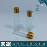 3ml 5ml 8ml 10ml Flacon de verre cosmétique clair avec bouchon à vis en or