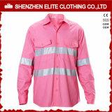 لون قرنفل كم طويلة عادية رؤية أمان قميص عمل مع شريط انعكاسيّة