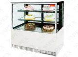 Showcase do bolo com a porta de vidro Right-Angle para o indicador do petisco do bolo na loja da padaria
