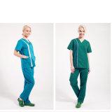 Os vestidos 100% do hospital do algodão para uniformes médicos da fábrica esfregam