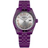 方法レディース・ウォッチ日付の女性誕生日プレゼントの腕時計(2006-V3)が付いている紫色のステンレス鋼の宝石類のダイヤモンドの腕時計の水晶