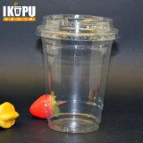 Copo plástico impresso costume do animal de estimação descartável transparente com tampa