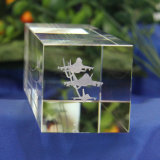 3D Laser Gravure Cube paperweight Craft for Crystal Gift
