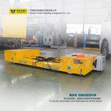Gelbe Farben-flache Bahnkarre mit Stahlkran-Rädern