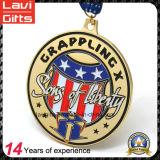 リボンが付いている米国の金張りの金属メダルをカスタム設計しなさい