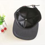 黒6のパネルの綿は急な回復の帽子の平らな縁の帽子