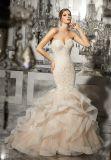 2017着のひだのオーガンザのレースのビーズの花嫁のウェディングドレスCtm002