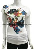 花の印刷を用いる女性のための細く白いTシャツ