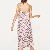 Платье выскальзования отдыха женщин способа тонкое шифоновое напечатанное плиссированное