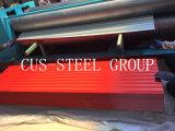 Placas de azotea prepintadas del metal del material de construcción/hoja de acero revestida del material para techos del color