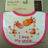 卸売100%柔らかい刺繍された動物デザイン赤ん坊の胸当て