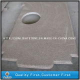 Cucina poco costosa della pietra del granito di colore giallo della ruggine G682/contro parti superiori