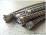 Boyau de teflon tressé ondulé d'acier inoxydable de chambre à air de PTFE