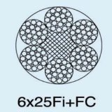 Corda de fio de aço 6X25fi+FC de Ungalvanized