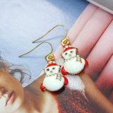 Orecchini di goccia rossi bianchi del pupazzo di neve di natale del Rhinestone dello smalto